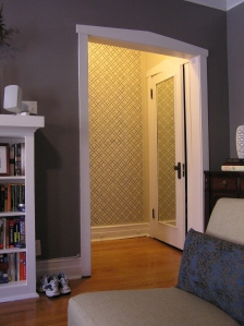 Stenciled Hallway from living room