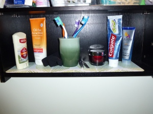 Medicine Cabinet with Wipe Clean placemat strip