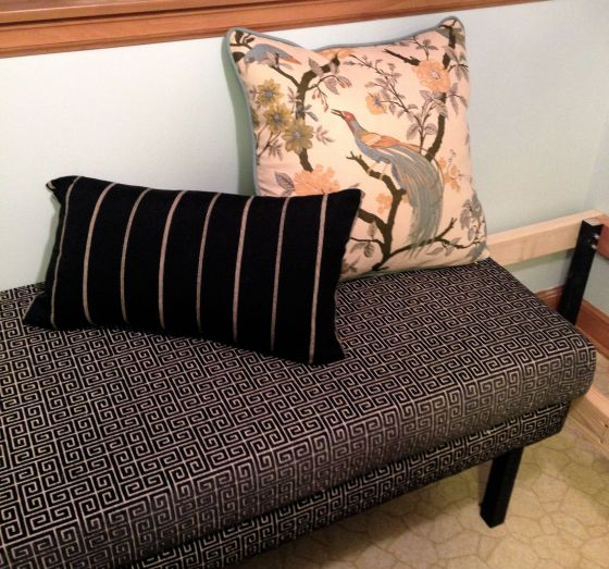 What's handmade? That banquette bench and those pillows, that's what!